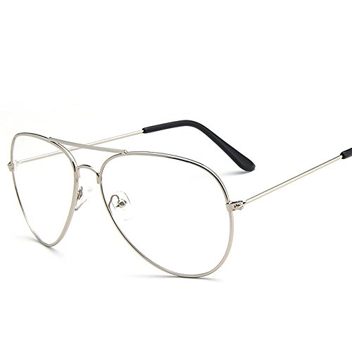 908b094ee29 Scorpiuse Aviator Glasses Clear Lens Retro Metal Frame Eyeglasses ...
