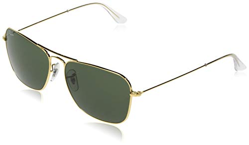 Ray-Ban RB3136 Caravan Square Sunglasses, Arista Gold/Green, 58 mm (Ray Ban Square)