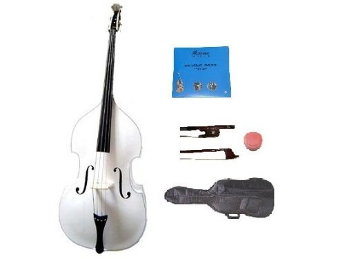 GRACE 1/4 Size White Upright Double Bass with Bag,Bow,Bridge+2 Sets Strings+Rosin by Grace