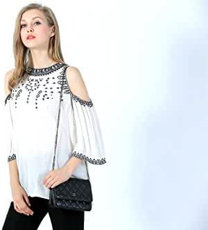 Ultrapink Missy Embroidered Cold Shoulder Top For Women