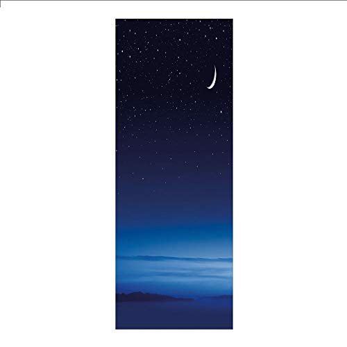 - 3D Decorative Film Privacy Window Film No Glue,Night,Moon and Stars Over Santa Barbara Channel Infinity Foggy Pacific Ocean Decorative,Dark Blue Sky Blue White,for Home&Office