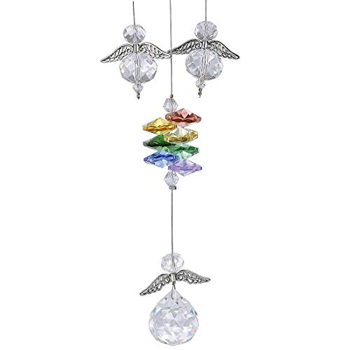 H&D Crystal Guardian Angel Suncatcher Hanging Rainbow Maker with 20mm Ball Prisms for Window ()
