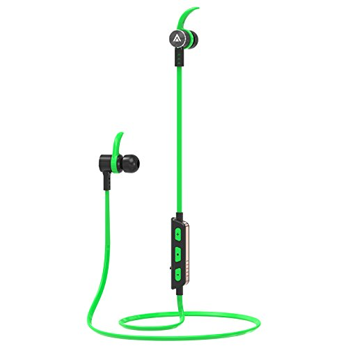 Abicor Bluetooth Headphones Wireless In Ear Earbuds V4.1 Stereo Noise Isolating Light Weight Sports Sweatproof Headset with Mic, Premium High Fidelity Bass Sound with Carrying Case- Green