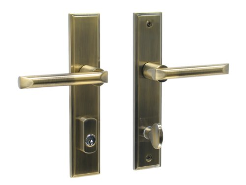 Pickfair by FPL- Solid Brass Active Trim Only Lever Set for Multipoint Lock, Schlage Keyway, Antique Brass (Storm Door Multi Point Mortise Lock Pella)