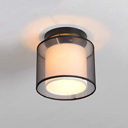 WPCBAA Mini Linen Ceiling Light Half-Embedded Ceiling Light AC110-240V Acrylic Lampshade (Black) ()