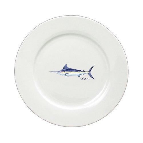 Caroline's Treasures 8674-DPW-11 Fish Blue Marlin Ceramic - Plate Round 11 inch solid white 8674-DPW, 11