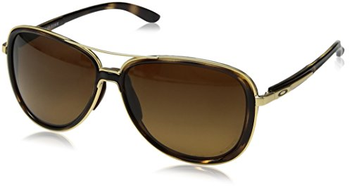 Oakley Women's OO4129 Split Time Aviator Metal Sunglasses, Brown Tortoise/Brown Gradient Polarized, 58 ()