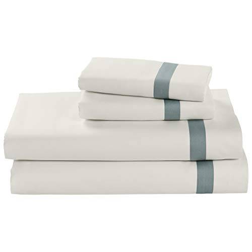 Stone & Beam Banded 100% Percale Cotton Sheet Set, Easy Care, King, Lagoon
