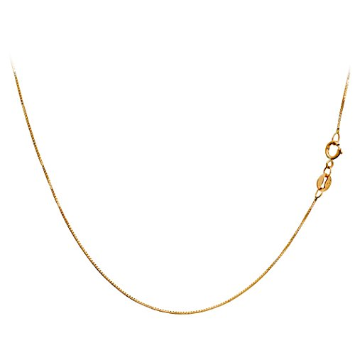 (Amber by Graciana 14K Yellow Gold Box Venetian Necklace Chain Very Thin 0.45mm 18 Inches)
