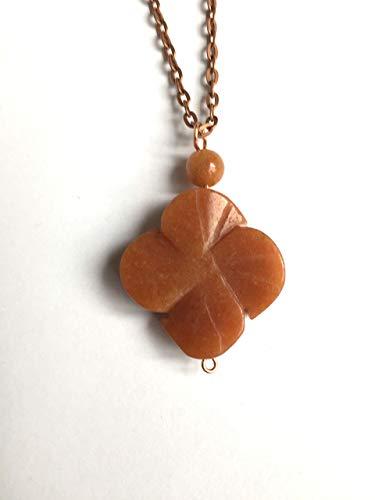 Carnelian, Red Aventurine, 4 Leaf Clover Pendant, Copper Chain