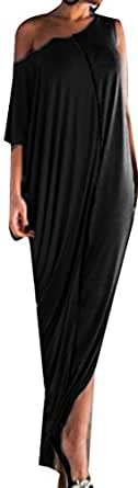 Cruiize Womens Casual Half Sleeve One-shoulder Irregular Maxi Dress Black Small