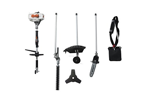 26CC 2 Cycle 4 in 1 Multi Tool with Grass Trimmer Attachment, Hedge Trimmer Attachment , Pole Saw Attachment and Brush Cutter Blade with Bonus Harness ()