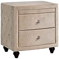 Meridian Furniture Diamond Velvet Covered Nightstand