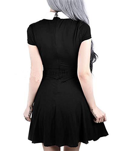 Sleeve Women Black for Halloween Dress Womens Gothic Pentagram Mesh Dress Short Casual Enfei Vintage Romantic ZvwqgOwx