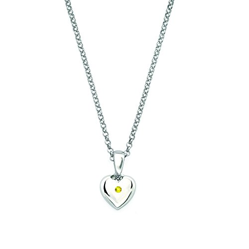 Little Diva Diamonds 925 Sterling Silver Simulated Citrine Birthstone Heart Pendant Necklace with 16