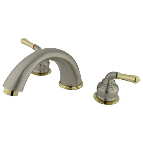 Kingston Brass KC369 Magellan Roman Tub Filler with Metal lever handle Ceramic Cartridge, Satin Nickel and Polished Brass
