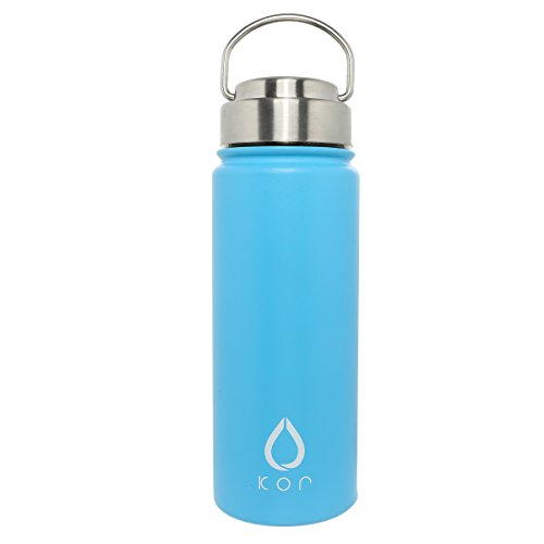 KOR ROK | Double Insulated Vacuum Sealed Stainless Steel Reusable Water Bottle | Screw Top w/Handle | 18 and 32oz | 24 Hours Cold - 12 Hours Hot | Great for Camping, Hiking, Travel, Gym and Sports