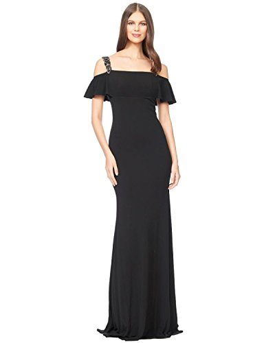 David Meister Cold Shoulder Beaded Jersey Evening Gown Dress Black