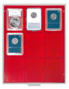 LINDNER Original Coin Box for Certified Coins with Red Velour - Presentaion Box