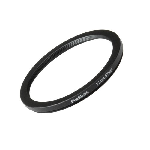 (Fotodiox Metal Step Down Ring Filter Adapter, Anodized Black Aluminum 77mm-67mm, 77-67 mm )
