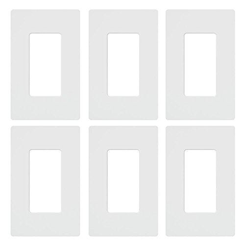 (Lutron Claro 1 Gang Decorator Wallplate (6-Pack), CW-1-WH-6, White (Renewed) )