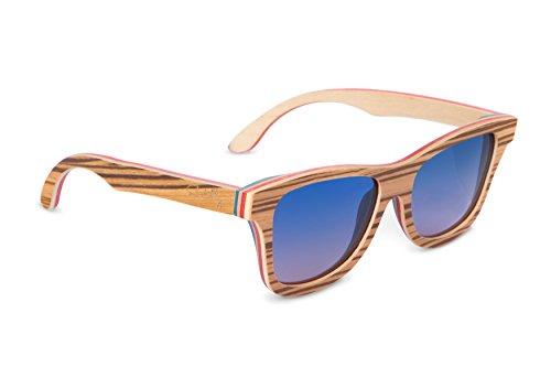 Vintage Polarized Skateboard Wood Sunglasses: Handmade Wooden Glasses & Bamboo Case For Men & Women By Emolly