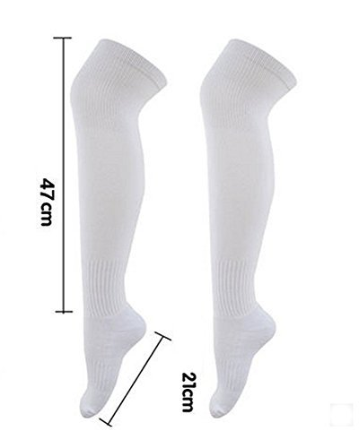 LOHOME Football Sport Over Knee Solid Cotton Socks - Extended Stockings Socks Athlete High Tube Thicken Bottom Long Socks Hockey Rugby Men Women Absorb Stockings (White)