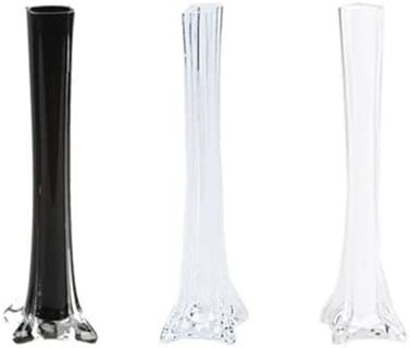 LACrafts 12 Glass Eiffel Tower Vases – 12 Pack – Clear