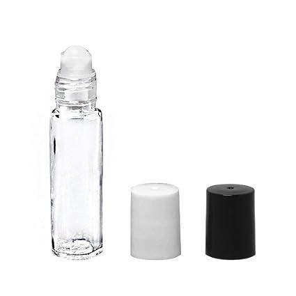 144 Premium Life Clear Glass Roll-on 1//3 Oz Cylinder Bottles Black Caps
