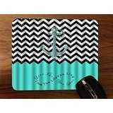 Trendy Accessories Blue Anchor Chevron Love The Life You Live Quote Design Print Image Desktop Office Silicone Mouse Pad