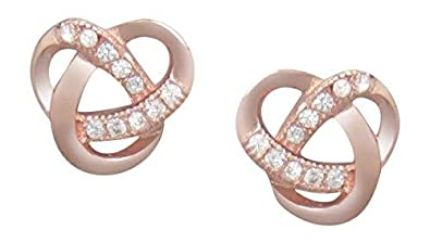 f6b2507c7 AG2AU Sterling Silver Celtic Knot Stud Earrings - Rose Gold Plated with  Cubic Zirconia: Amazon.co.uk: Jewellery