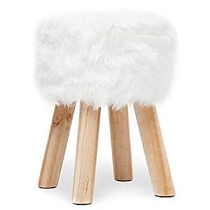 Repose-Pieds Imitation Fourrure Pouf Siège Pouf Tabouret Pouffe Ottoman Rond avec 4 Pieds Bois Massif Nature pour Chambre Salon Couloir Blanc