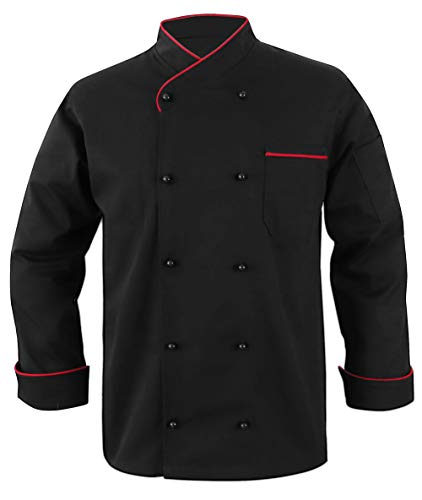 10oz apparel Black Chef Coat Contrast Piping Long Sleeves Jacket (Black/Red Piping, XL)