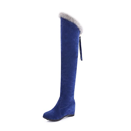 Allhqfashion Women's Pull-on Round Closed Toe High-Heels Imitated Suede High-top Boots Royalblue