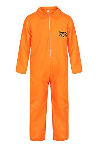frawirshau Prisoner Costume Orange Prison Jumpsuit Adult Costumes for Men Jail Criminal Outfit L