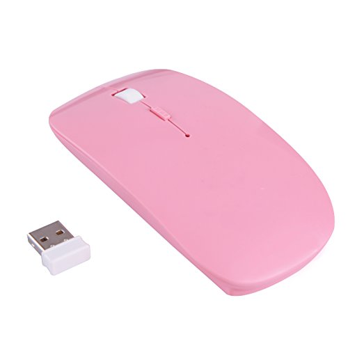 HDE Sleek Form-Fitting Ergonomic Curved Wireless 2.4 GHz Optical Slim Mouse with DPI Switch (Pink)
