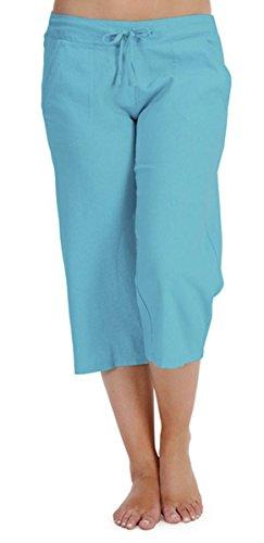 Tom Franks - Pantalones piratas para mujer, 100% lino y algodón para el verano, longitud de pernera 3/4, cintura ajustada, tallas 38-46, colores brillantes azul turquesa 44