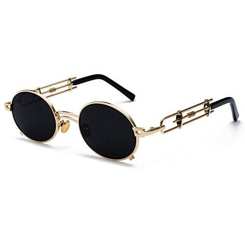 e3b04e577e Retro Steampunk Sunglasses Men Round Vintage NEW Metal Frame Gold Black  Oval Sun Glasses For Women