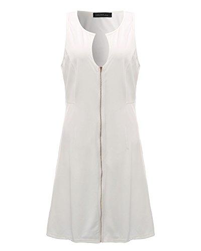 StyleDome Vestido Corto Elegante Casual Fiesta sin Mangas Cóctel Noche para Mujer Gordita Blanco EU 42: Amazon.es: Ropa y accesorios