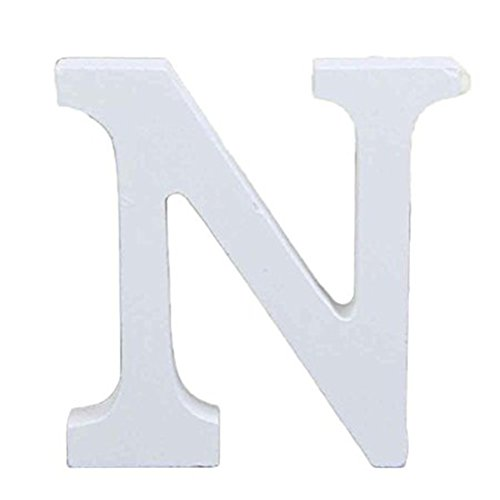 Aspire 6 Height Wooden Letters Alphabet Word Free Standing Wedding Home Decor-White Letter N