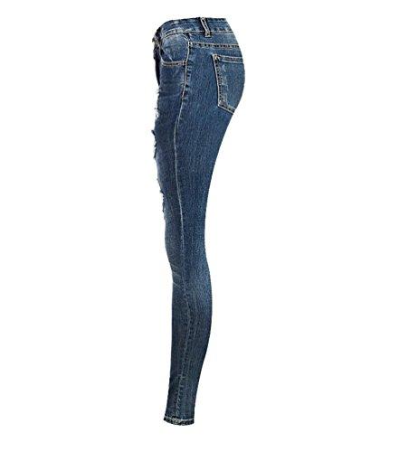 Pantaloni Blu A Jeans Donna Skinny Scarni Strappati Yilianda Alta Vita Leggings wv5q4
