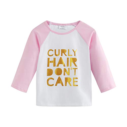 Toddler Baby Girls Boys Raglan Tees for Short Sleeve Cotton T-Shirt Baseball Jesey Culy Hair Don't Care (LP1) ()