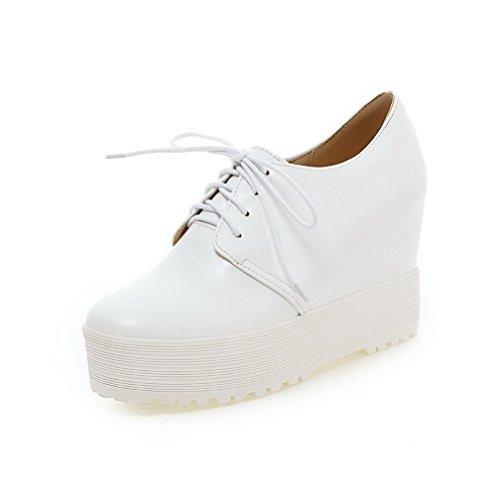 AllhqFashion Damen Rein PU Leder Hoher Absatz Rund Zehe Schnüren Pumps Schuhe Weiß