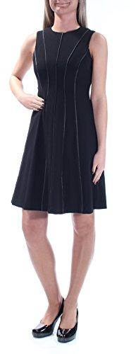Calvin Klein Women's Fit and Flare Sleeveless Dress, Black/Black, 6 Petite