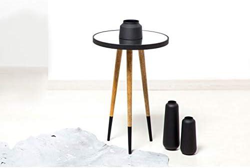 Paris Prix - Table D\'appoint Design Mary 61cm Noir & Naturel