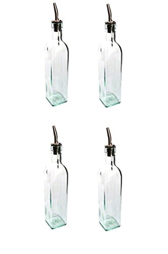 SET OF 4-16 Oz. (Ounce) Oil Vinegar Cruet, Square Tall Glass Bottle w/Stainless Steel Pourer Spout
