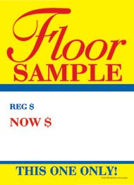 """T50FLO Furniture Floor Sample was Now - Slotted Sale Tags - 5"""" x 7"""" (100 Pack)"""