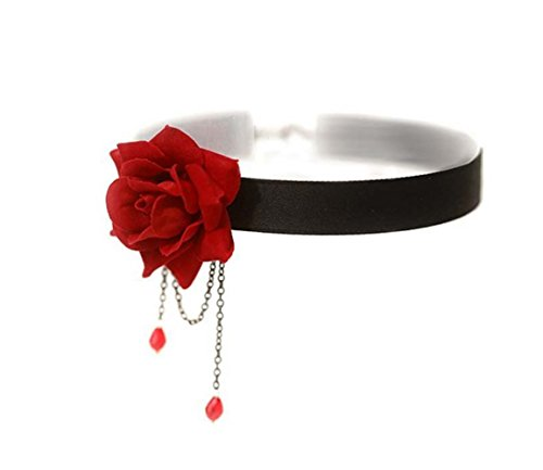 (UPSTORE 1PCS Women Lady Girl Elegant Rose Flower Popular Gothic Lolita Collar Choker Necklace Retro Collarbone Chain Clavicle Collar Ornament Perfect Halloween Xmas Gift (Red))