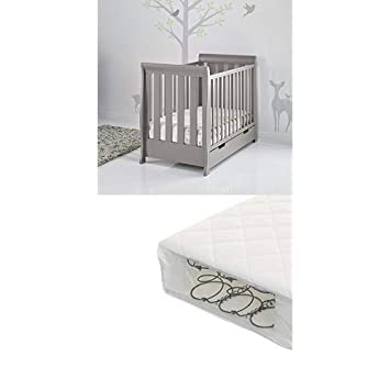 Obaby Stamford Sleigh Mini Cot Bed and Eco Foam Mattress Taupe Grey