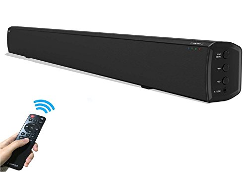 31.5-Inch Soundbar 20W×2 Wireless Bluetooth Speaker Super Bass Stereo Loudspeaker for TV with Optical/Coaxial/AUX Jack (Black with Remote Control) (Stereo Loudspeaker)